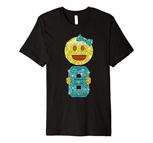 Happy 8th Birthday Emoji Holding 8 T Shirt For Girls