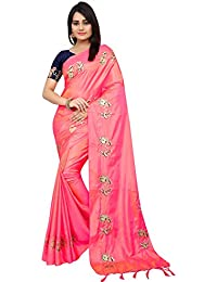 High Glitz Fashion Women's Pink Colour Paper Silk Saree With Blouse Piecs