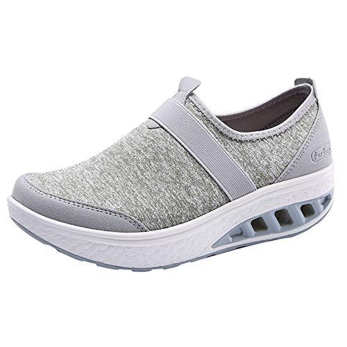 Qmber Damen Fitness Laufschuhe Sportschuhe Schnüren Running Sneaker Netz Gym Schuhe Unisex Erwachsene Light Runner Shoe Low Top/Green,38 -