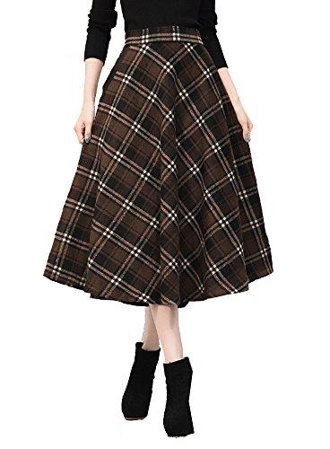 Tribear Damen Vintage Winter Herbst tartan mit hoher Taille flared röcke knielange Kleider (3XL/EU 42, Kaffee)