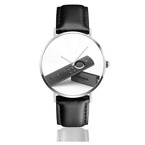 Unisex Business Casual Fire TV Stick mit Alexa Voice Remote Streaming Media Player Uhren Quarz Leder Armbanduhr mit schwarzem Lederband für Männer und Frauen Young Collection Geschenk
