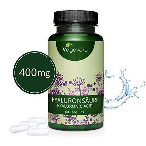 Acide Hyaluronique Pur Vegavero | 400mg | 60 Gélules Végétales | Molécules Optimales 800-1200 kDa | 100% Vegan & Naturel