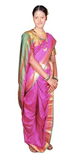 Aasri Women's Poly Cotton Saree (Fhsf-Paithani,Pink Green,Free Size)