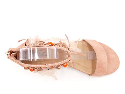 Ethno Boho Style Keilabsatz Sandalette Feder Fransen Quaste Holzperlen Damen Schuhe Festival (8458) Rosa mit Nieten