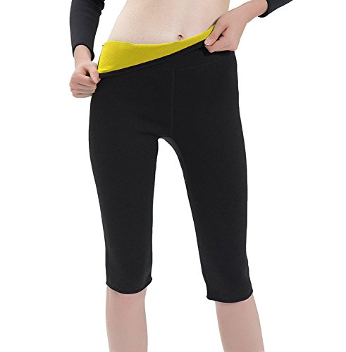 Damen Mädchen Hot Capri Shapers Pants Schwitzhose Fitnesshose Training Capri Schlank Hose Neopren – VENAS (Schwarz + pants, XL) (Ganzkörper-kleidungsstück)