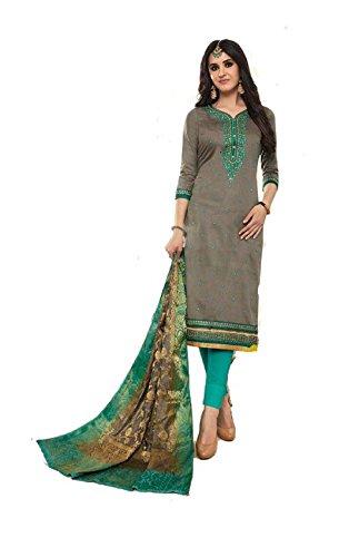DS Fabrics Pure Jam Silk Cotton With Worked Salwar Kameez With Banarasi...