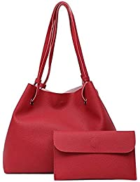 Alibao High Quality Designer PU Leather Women's And Girls Handbag + Purse Combo Of 2 Pieces ( Rubine Red Color )