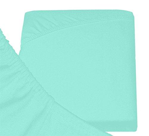 Double Jersey - Spannbettlaken 100% Baumwolle Jersey-Stretch bettlaken, Ultra Weich und Bügelfrei mit bis zu 30cm Stehghöhe, 160x200x30 Aqua - 6