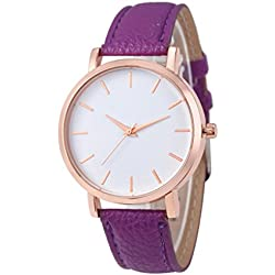 Ularma Fashion Watches PU Leather Stainless Men women Steel Analog Quartz Wrist Watch Purple