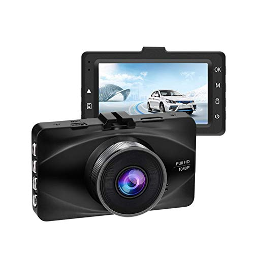 MIMI KING Dash Cam, FHD 1080P, 170 Grad Weitwinkel-Objektiv, Parküberwachung, 3-Zoll-Bildschirm, G-Sensor, Bewegungserkennung, Loop-Aufnahme, Metall-Rumpf mit 32G-Speicherkarte,Black