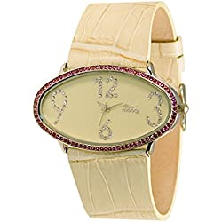 Moog Paris - Egg, ladies watch with Beige dial, Beige strap - made in France - M44142-007