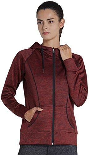 KomPrexx Damen Sweatjacke Laufjacke Runningjacke Outdoorjacke mit Kapuze Full Zip Hoodie Winter Kapuzenjacke mit Reißverschluss und Taschen 14oz W002W(DarkRed,XS) (Brust-tasche Full Zip Sweatshirt)