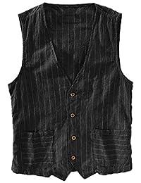 POachers Homme Imprimé rayé-Breasted Classique Gilets Parti Formal Waistcoat Suit Vest- Mode Gilet Hommes Costume Veste sans Manches Business Casual Mariage