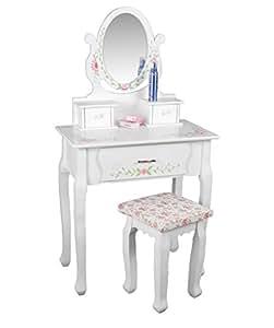handverzierter schminktisch mit spiegelaufsatz und handbemalter dekoration frisierkommode. Black Bedroom Furniture Sets. Home Design Ideas