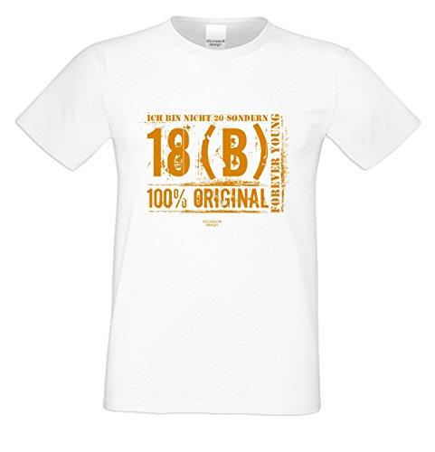 Herren-T-Shirt Geschenk Geschenkidee zum 20. Geburtstag Ich bin nicht 20 Geburtstagsgeschenk Männer auch in Übergrößen 3XL 4XL 5XL Farbe: weiss Weiß