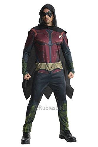 Erwachsenen Superhelden-Kostüm Robin DC Comics Batman Arkham City Taglia - (Dc Comics Kostüme)