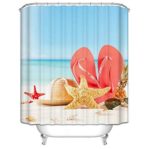 uschvorhänge Seestern Hausschuhe Hut Design Duschvorhang Bunt Badvorhang 120x180CM ()