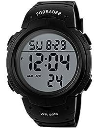 Forrader Montre de sport étanche avec affichage numérique à LED et chronomètre Noir