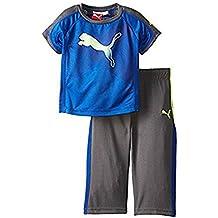 Puma Baby Jungen Sport Outfit T-Shirt + lange bequeme Pullup Jogging Hose (80, Blau)