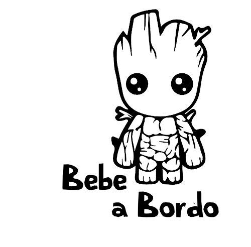 Pegatina Vinilo Bebe Groot a Bordo, Baby Groot on Board,...
