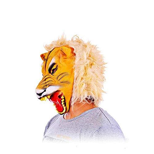 wnddm Tiger Maske Halloween lustige Full Head Cover beängstigend Maske Latex Mascaras Tier Kostüm Requisiten Theater Streich Party Halloween Dekor (Lustige Tier Kostüm Streiche)