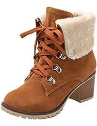 ed45f3db3cc6da UH Damen Schnür Stiefeletten Gefüttert Chunky Heels Boots mit Blockabsatz  6cm Absatz Warm Freizeit Schuhe