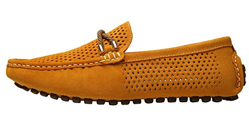 ZEROLING Herren Wildleder Slip on Mokassins Loafers Gelb-1