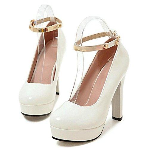 TAOFFEN Femmes Chaussures De Talons Hauts Mode Bloc Plateforme Escarpins De Boucle Blanc