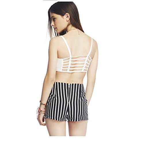 Shocknshop White Strap Vest Cut Out Shirt Summer Beach Tank Free Size(Removable Pads)