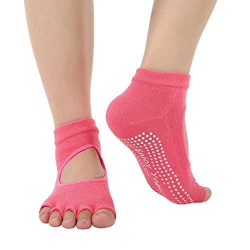 Naroote Professionelle Yoga-Socken mit offenem Zehenrücken, Flexible und Rutschfeste Baumwollsocken, weich atmungsaktiv für Pilates, Barre, Ballett(rot) - Griffen Yoga Männer Mit Zehen-socken
