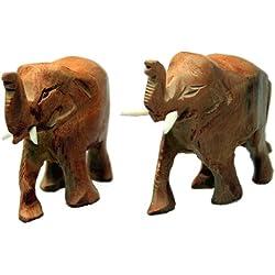 Pareja de elefantes tallados en madera de sándalo - Hecho a mano
