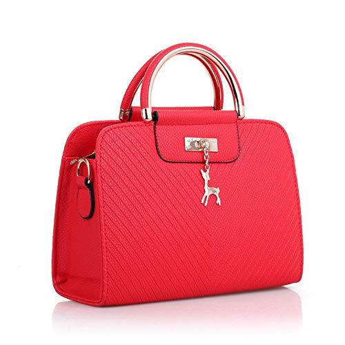 Henkeltaschen Damen Kitz-Reifdekoration Vintage Echtleder Lederoptik Freizeit Stylisch Luxus Glamour Mit langem Schulterriemen Handtasche -