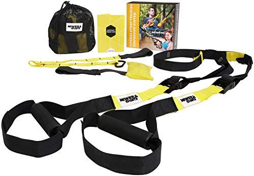Miweba Sports Schlingentrainer Suspensiontrainer Sling Trainer - Polyamid-Gurt - Türanker - Haltegriffe - Trainingshandbuch