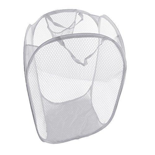 Wss- cesto porta biancheria pieghevole pop up in rete, 51 x 31 x 31 cm white