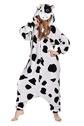ABYED Adulte Unisexe Anime Animal Costume Cosplay Combinaison Pyjama Outfit Nuit Vêtements Onesie Fleece Halloween Costume Soirée de Déguisement,vache Taille adulte S -pour Hauteur 150-158cm