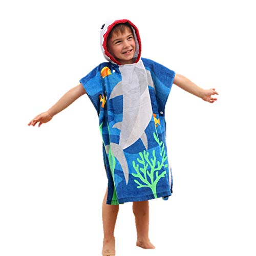 Uk_stone Kids Children Cartoon Cotton Hooded Beach Bathrobe Beach Towel 100% Cotton Cover-ups Hoddie