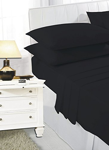 100% Egyptian Cotton T200 Fitted (25 cm) Sheets (Single, Black)