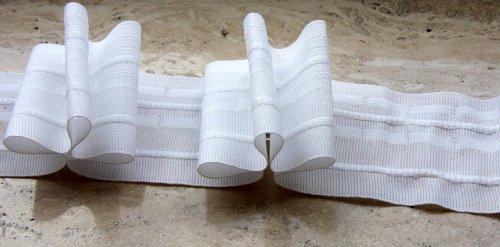 Gardinenband,Faltenband 2,5:1, 60 mm,weiß,10 m -