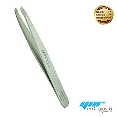 YNR® Classic eyebrow Tweezer Slanted Tip Made in German Stainless Steel | for precision removal of tiny hair | Smooth on the skin, sharp on the hair
