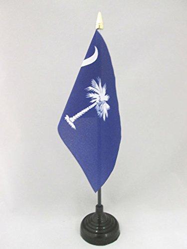 BANDERA de MESA de CAROLINA DEL SUR 15x10cm - BANDERINA de DESPACHO AMERICANA DE CAROLINA DEL SUR - EE.UU 10 x 15 cm punta dorada - AZ FLAG