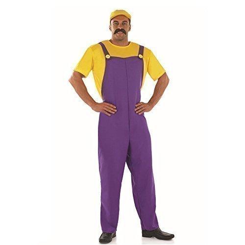 Herren Erwachsene Super Mario oder Luigi Brothers 1980s Jahre 80s Jahre Klempner Kostüm Kleid Outfit - Lila, Medium