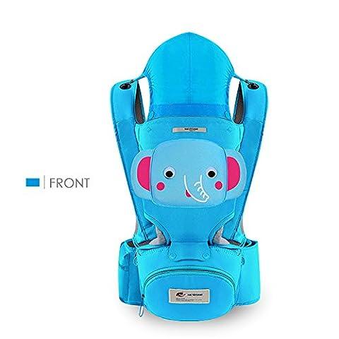 SONARIN 3 en 1 multifonction Cartoon Hipseat Baby Carrier, Porte-bébé, ergonomique, 100% coton, une taille pour tous, facile à supporter et facile maman, confortable et apaisante pour bébés, adapté à la croissance de votre enfant, 100% GARANTIE et LIVRAISON GRATUITE, Idéal Cadeau(Bleu)