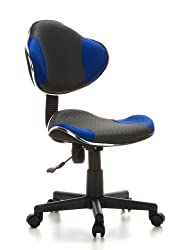hjh OFFICE 633000 Kinder Schreibtischstuhl KIDDY GTI-2 Stoff Grau/Blau ergonomischer Jugenddrehstuhl höhenverstellbar