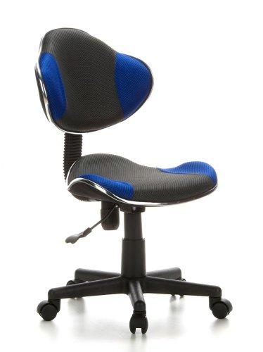 hjh OFFICE 633000 Kinder-Schreibtischstuhl KIDDY GTI-2 Stoff Grau / Blau Ergonomischer Bürostuhl Jugenddrehstuhl Höhenverstellbar (Ein Stuhl Für Schreibtisch)