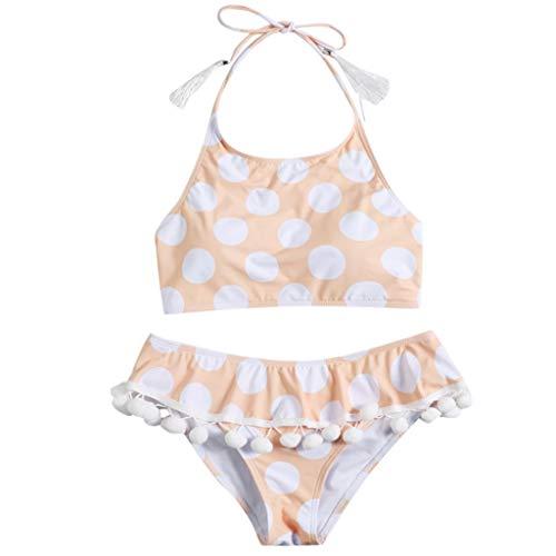 Damen Bikini Sommer Zweiteiliger Badeanzug Vintage Bikini Set Dot Druck Bademode Hohe Taille Quaste Bikinihose Bauchweg Badeanzug Neckholder Rückenfrei Push Up TWBB 2019 -