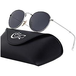 CGID E47 Pequeño Estilo Vintage Retro Lennon inspirado círculo metálico redondo gafas de sol polarizadas para hombres y mujeres