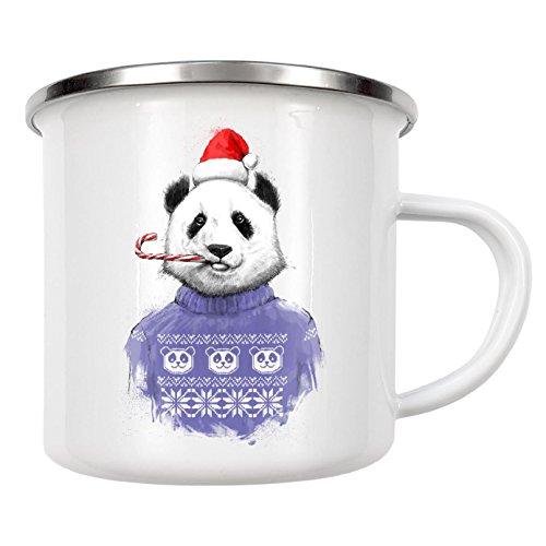 artboxONE Emaille Tasse 'Christmas panda' von Nikita Korenkov - Emaille Becher...