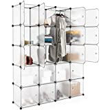 House of Quirk 20 Cube Shelving Closet System Cube Organizer Plastic Storage Cubes Drawer Unit, DIY Modular Bookcase Cabinet for Clothes, Shoes, Toys - White