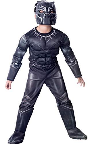 Miscolor Jungen Halloween Cosplay Overall Kostüm 3D Black Panther Drucken Langarm