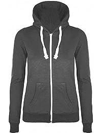 Womens Plain Hoodie Zip Up Ladies Hooded Jacket Sweatshirt Hoody Top 8 10 12 14